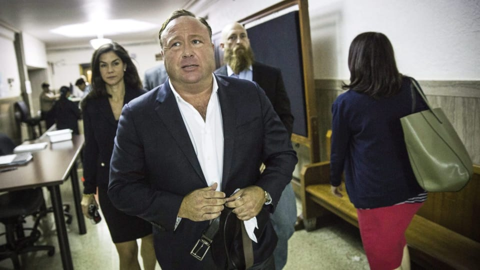 Alex Jones, of InfoWars, April 17, 2017 in Texas Photo: The Canadian Press / AP / Tamir Kalifa / Austin American-Statesman